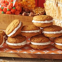 Pumpkin Whoopie Pies Recipe -My kids start begging me for these cakelike sandwich cookies as soon as autumn arrives. I haven't met a person yet who doesn't like these fun treats. Fall Desserts, Just Desserts, Delicious Desserts, Pumpkin Recipes, Cookie Recipes, Dessert Recipes, Cupcakes, Cupcake Cakes, Fudge