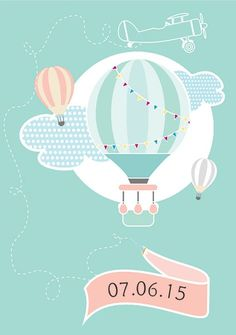 Trendy ideas for baby shower invitaciones buhos Christening Invitations, Baby Shower Invitations, Dibujos Baby Shower, Baby Party, Hot Air Balloon, Baby Boy Shower, First Birthdays, Baby Gifts, New Baby Products