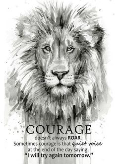 Watercolor Lion, Watercolor Animals, Watercolor Paintings, Citation Courage, Courage Quotes, Lion Wall Art, Lion Art, Image Lion, Black And White Lion