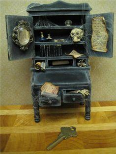 itsybitsytiny:  Haunted Wizard/Dollhouse Hutch  by RosieCotton on Flickr.