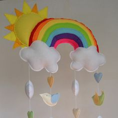 Sunshine and Rainbow baby mobile bright colours by RazzleDazzle4U