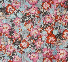 Vintage 1950s Viyella Dress Making Fabric Navy &amp- Pink Abstract ...