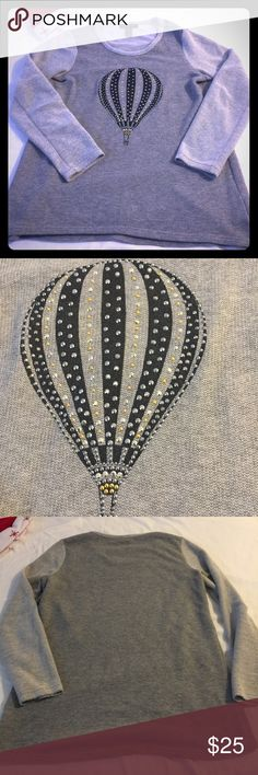 Lightweight grey sweater w/silver/gold balloon Perfect for the cooler weather! This fun sweater has gold & silver studded hot air ballon appliqué Macy's Sweaters Crew & Scoop Necks