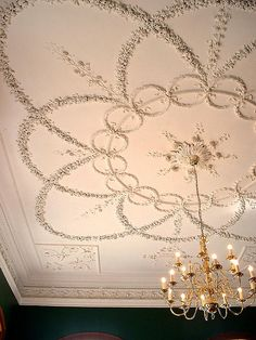 Ceiling design - parlour at Kings Weston House designed by Robert Mylne and plasterwork executed by Thomas Stocking in the Plafond Design, Ceiling Decor, Ceiling Tiles, Ceiling Beams, Ceiling Lights, False Ceiling Living Room, Ceiling Treatments, Ceiling Detail, False Ceiling Design