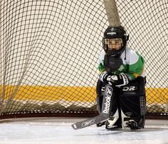 """OMG! Sooooo cute! Tiny goalie :) Reminds me of my son. LOL His """"team"""" goalie gear was obviously donated & they switched out goalies. But he loved the position. His pads were as big as his entire lower body plus. LOL"""