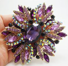New Vintage Gorgeous Purple Flower Gold-plated Brooch Pin Rhinestone Crystal #Unbranded