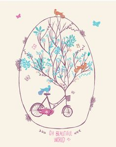 Oh, beautiful world   Vlinspiratie: paper & cloth #birds #bike #tree