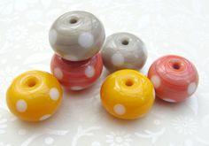 Lampwork Glass Beads Warm Spice Polkas UK by GlitteringprizeGlass (Craft Supplies & Tools, Jewelry & Beading Supplies, Beads, Rondelle Beads, murano glass bead, polka dots, jewellery making, craft supplies, sra lampwork beads, flameworked beads, ATCTteam, earring pair, coral orange, summer, light brown, pumpkin yellow, autumn harvest)