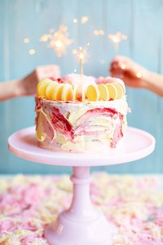 This lemon and raspberry Fairy Floss Cake by The Meringue Girls is decorated with Pashmak Persian fairy floss, made from sesame and sugar. You can use it to decorate trifles, Eton mess and your favourite cakes.