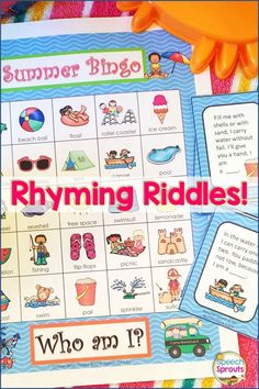 $ Summer Bingo Riddles is the perfect end of the year activity. My kids love guessing the rhyming riddles to play! Practice inference and summer vocabulary skills. Fun for a wide range of ages, kindergarten through 7th grade. #speechtherapy #endoftheyearactivity #inference #vocabulary Speech Therapy Activities, Language Activities, Rhyming Riddles, Teaching Special Education, Speech And Language, Bingo, Inference, Language Development, Language Arts