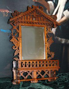 Antique German Bavarian Black Forest Carved Wooden Mirror Wall Bracket Shelf