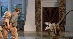 Dr. Alan Grant battles Velociraptors in B & K.