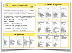 Les mots invariables CM2 French Grammar, Cycle 3, French Resources, Grammar Lessons, Teaching French, Daily 5, Learn French, Learning Activities, Teacher Resources