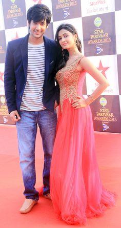 Shivin Narang and Farnaz Shetty at the 15th Star Parivaar Awards. #Bollywood #Fashion #Style #Beauty