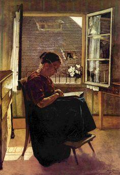 Die Mutter des Künstlers im Stübchen, Hans Thoma (1839–1924), Germany.