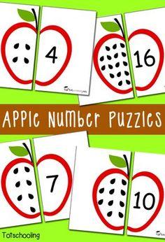 Mathe, Puzzle, Äpfel, Apfel, Mengenlehre, Mengenverständnis, eins zu eins Zuordnung, zuordnen, verbinden, Bildkarten karten mit Anzahl Punkten und Ziffer, Klasse 1, Vorschule