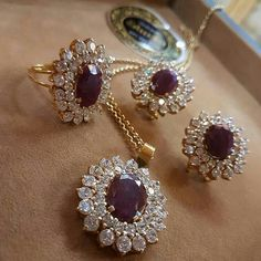 Diamond Ruby Earrings Locket and Ring Pearl Jewelry, Pendant Jewelry, Jewelry Sets, Gold Jewelry, Jewelry Accessories, Jewelry Necklaces, Fine Jewelry, Ruby Earrings, Gold Jewellery Design