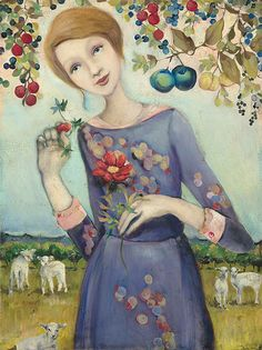 """""""While I worked on this painting, I often thought about paradise,"""" says artist Cassandra Barney. """"I was thinking about the times in my life when I have felt absolute contentment, a beautiful feeling that has come at times when I've lost myself in the care of others. The lambs are in the care of this ever-vigilant shepherdess and she is in a state of bliss."""""""