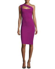 One-Shoulder Ponte Sheath Dress, Berry