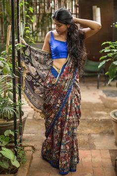 Printed Kalamkari cotton saree with blue border #saree #kalamkari #houseofblouse