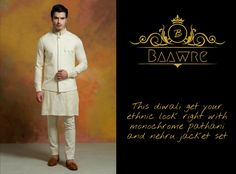 This diwali get your ethnic look right with monochrome pathani and nehru jacke set. Gq Awards, Bespoke Clothing, Designer Suits For Men, Nehru Jackets, Ethnic Looks, New Launch, Men's Collection, Jacket Style, Diwali