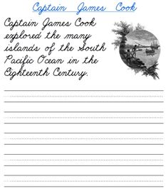 free printable intermediate cursive handwriting practice worksheets for social studies or world history on explorers of the world