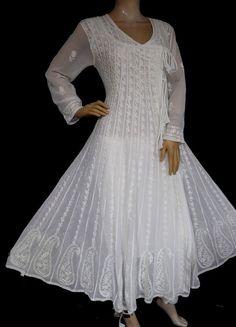 ISHIEQA's White Georgette Angrakha Style Anarkali Kurti - MV0901D Cotton Anarkali, Anarkali Kurti, Saree, 1920s Dress, Flapper Dresses, Angrakha Style, A Line Kurti, Frock Design, Day Dresses