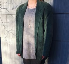 Vintage Green Suede Jacket  Hunt Club Jacket  by rediscoveredmuse