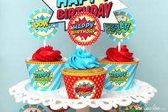 Superhero Birthday Party - 2 inch Party Circles & Bonus: Cupcake Wrappers NonPersonalized Printable Design by leelaaloo.com    #diy #superhero #cupcake #wrappers #party #circle #birthday #party #Leelaaloo