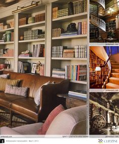 Beautiful bookshelf with leather couch in front. Large molding on bookcase. Nice layout of books and keepsakes.