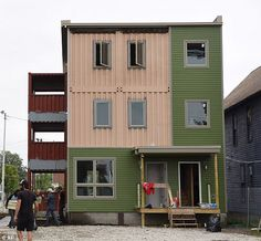 The North Corktown building, which is made entirely of shipping containers and is 70 percent complete, features two apartments with a total of three floors, three bedrooms and three-and-a-half bathrooms
