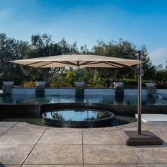 SunVilla Offset Umbrella Powder-Coated Aluminum Frames Sunbrella Canopy Fabric is Resistant to Stains, Mildew, Chlorine and Fading Umbrella Cover Included Pool Umbrellas, Outdoor Patio Umbrellas, Outdoor Decor, Outdoor Ideas, Outdoor Living, Patio Ideas, Backyard Ideas, Outdoor Spaces, Outdoor Umbrella