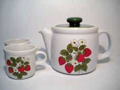 Vintage McCoy Pottery Strawberry Teapot and Mugs/Cups 70s. $18.00, via Etsy.