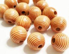 15 Corrugated Wood Bead, 14mm Medium Brown Corrugated Round Wood Beads, Chunky Wood Beads, Large Wood Beads, Wooden Beads, W9950 by vickysjewelrysupply. Explore more products on http://vickysjewelrysupply.etsy.com