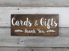 Perfect addition to decorate your gift table and thank your guests. This rustic wooden wedding sign is created out of 12 x 5.5 x .75 pine and stained dark walnut or gray. Cards & Gifts - Thank You design is hand painted in white. Top surface is sealed with a durable clear matte