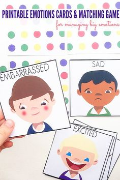 Managing Big Emotions: Printable Emotions Cards and Matching Game. Great for use with children of all ages at home or school.
