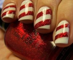 Glittery candy cane nails.