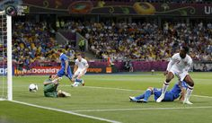 Italy's Bonucci intercepts a low cross to England's Welbeck during their Euro 2012 quarter-final soccer match at the Olympic Stadium in Kiev. DARREN STAPLES/REUTERS