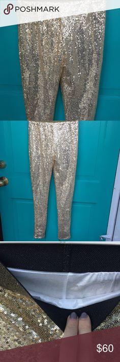 NWOT Sequin gold pants Pants, leggings, whatever you want to call these bottoms, they are hot! Never been worn looking for a home! Elastic waist band makes for a comfy fit. Perfect for the Christmas or new year holiday season!! ✨ [not anthro] Anthropologie Pants