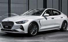 Download wallpapers Genesis G70, 2018, 4k, luxury white sedan, white G70, new cars, Genesis