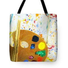 "Artists Easel And Splatter Tote Bag (18"" x 18"") by #Gravityx9 Designs.   The tote bag is machine washable, available in three different sizes, and includes a black strap for easy carrying on your shoulder.  All totes are available for worldwide shipping and include a money-back guarantee."
