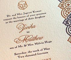 Copper foil press paired with purple letterpress ink for a royal mosaic inspired wedding invitation with customized ganesh.  | Invitations by Ajalon | invitationsbyajalon.com