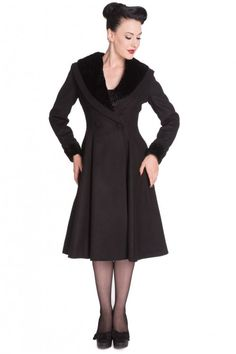 Hell Bunny 50s Vivien Swing Coat Black