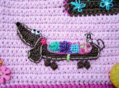 Crochet applique pattern dog / dachshund DIY by VendulkaM on Etsy