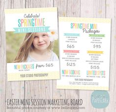 Easter Mini Session Packages Marketing Board by PaperLarkDesigns, $10.95 #spring #photography #template #paperlarkdesigns #paperlark #minisessions