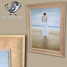 Another of the large frames, this time we've used a beautiful Ivory Mantilla frame with a natural canvas slip. Both echo the sandy colours and calm feel of the painting.