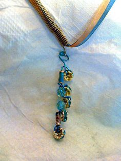 Blue and light brown ribbon necklace with handcrafted by rowdylady, $18.00