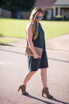 A lace-up dress + calf hair bag + Booties & you have the perfect transitional look summer to fall!!