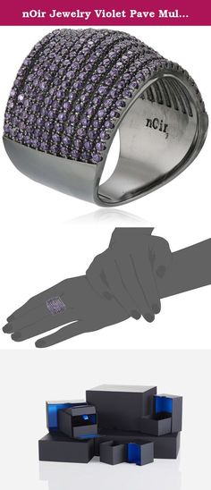 nOir Jewelry Violet Pave Multi-Strand Swirl Ring, Size 7. Made in China.