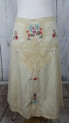 Free People Boho Hippie Vintage Embroidered Crocheted  Skirt Size 4